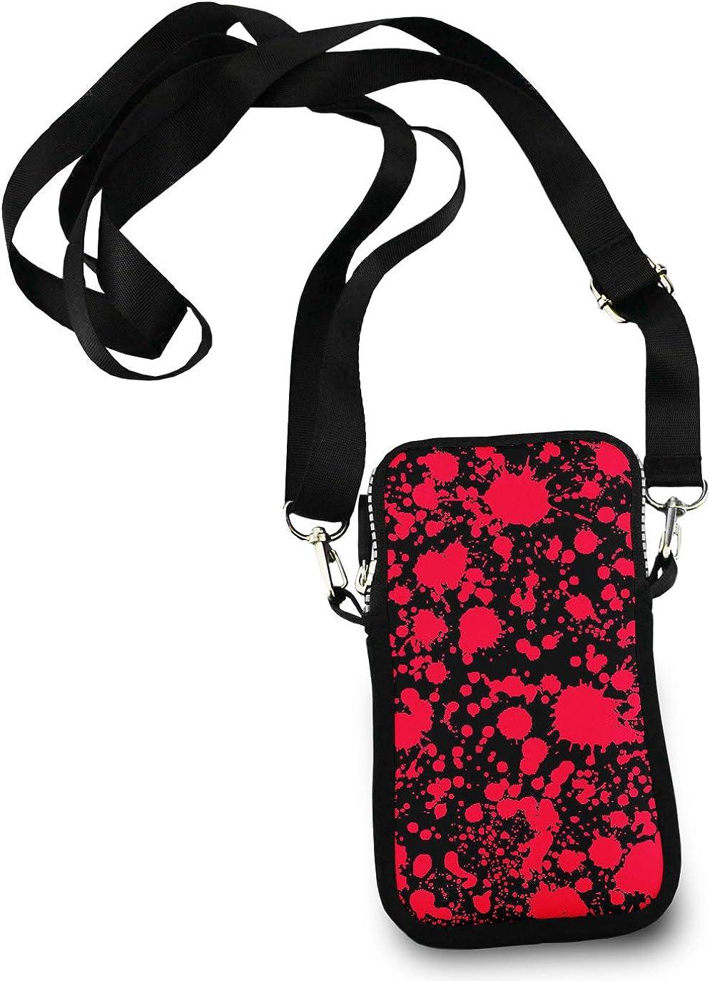 Unisex Small Crossbody Bag Cell Phone Purse Wallet Headphone Bag Classic Horror Blood Splatter Black