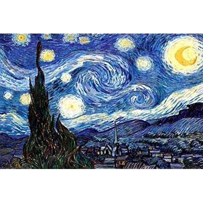 1000 Piece Adults Jigsaw Puzzle - The Starry Night Thicker Paper Puzzles Difficult Famous Painting Puzzles for Home Wall Decor, Kids DIY Toys Creative Gift: Toys & Games