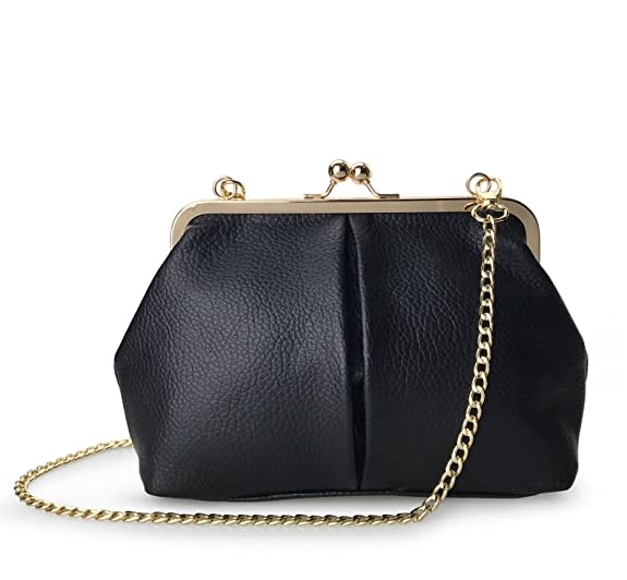Vintage & Retro Handbags, Purses, Wallets, Bags Hoxis Classical Kiss Lock Framed Clutch with Chain Starp Womens Shoulder Bag Purse Wallet $18.90 AT vintagedancer.com