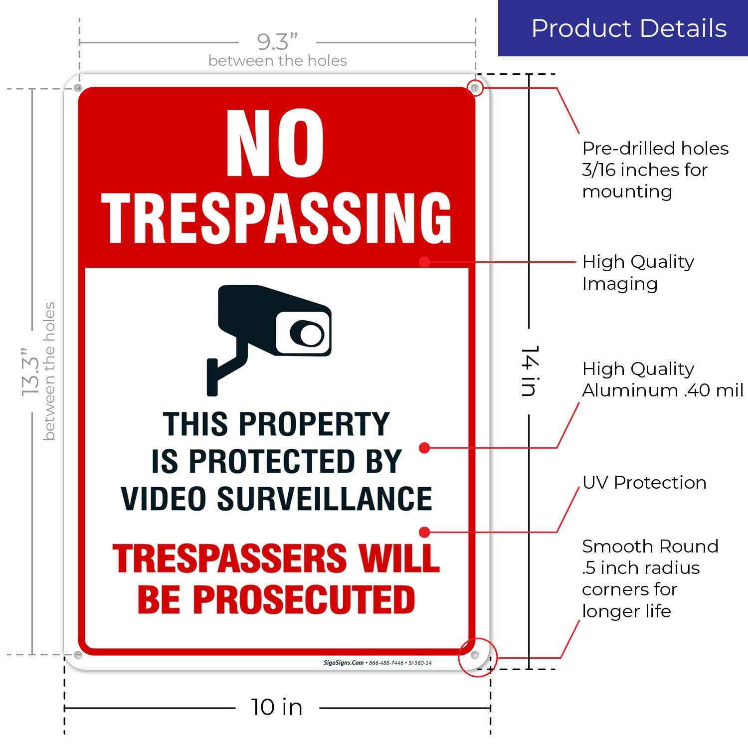 Amazon.com: Cartel de videovigilancia - No Trespassing ...