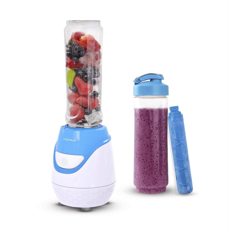 Aigostar Blueberry 30JDI - Batidora de vaso portátil, 600W, tubo refrigerante, incluye 2 vasos portátiles de Tritan de 600 ml y 2 tapas.