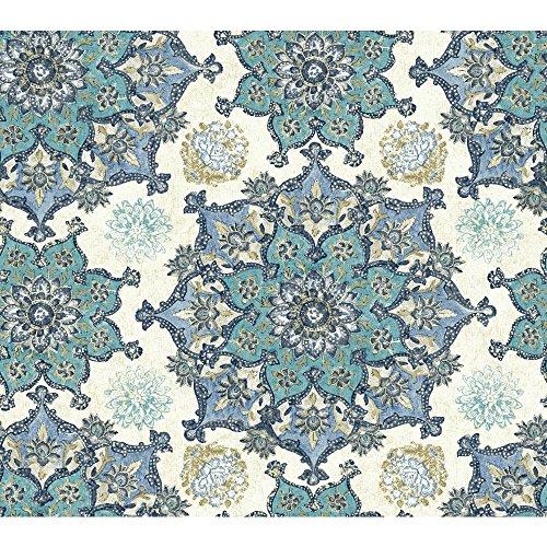 York Wallcoverings Global Chic Incense Wheel Removable Wallpaper, White, Teal, Dark Blue, Light Blue, Tan (Pearl)) ()