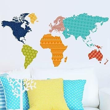 World Map Removable Wall Sticker.Amazon Com Wallpark Creative Geometric Patterns Colorful World Map