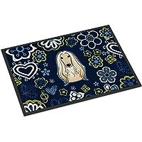 Caroline's Treasures BB5095MAT Blue Flowers Afghan Hound Indoor or Outdoor Mat 18x27 doormats, Multicolor