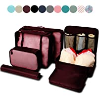 BAGAIL 7-Pcs Lightweight Luggage Packing Organizers Packing Cubes for Travel Accessories (Burgundy)