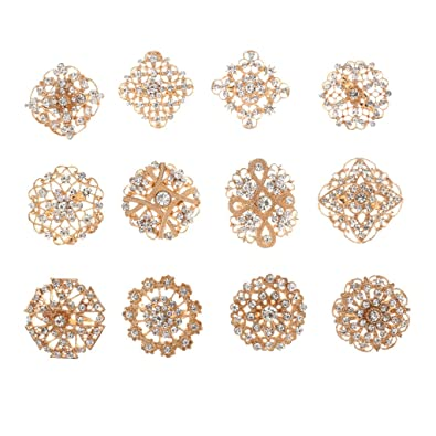 69b6053f11 Phenovo 12pcs Women Gold Plated Rhinestones Small Brooches