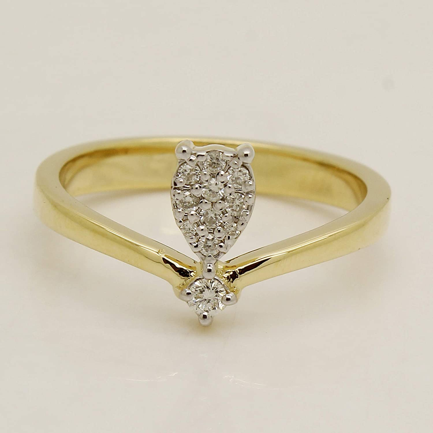 0.13 CT Round Natural Diamond 14K Yellow Gold Over Cluster Engagement Ring