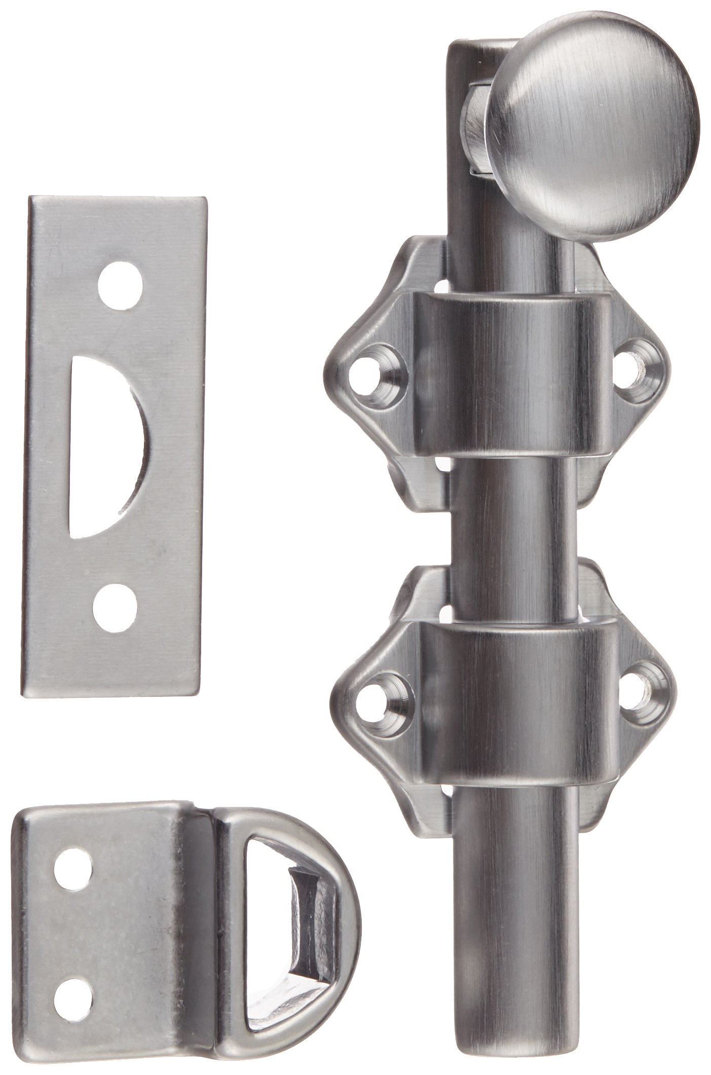 Rockwood 630-4.26D Solid Brass Surface Bolt with Universal And Mortise Strike, 2 Guide, 4'' Bolt Length, Brass Satin Chrome Plated Finish