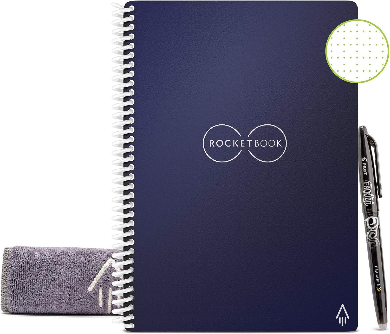 Rocketbook Cuaderno Digital Inteligente – Planificador Reutilizable Académico de Clase Para Profesores y Estudiantes Con Bolígrafo Frixion Pilot y Paño de Microfibra (Azul, Ejecutivo A5)