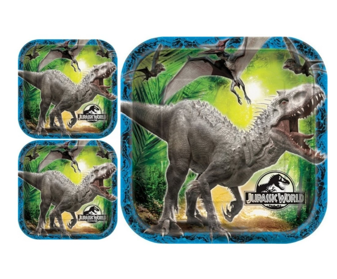 Square Jurassic World Dinner Plates (24 Count) by BirthdayExpress