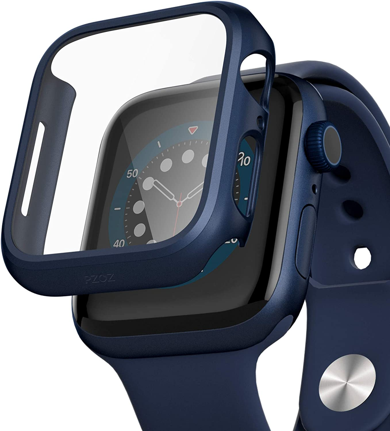 pzoz Compatible for Apple Watch Series 6/5 /4 /SE 44mm Case with Screen Protector Accessories Slim Guard Thin Bumper Full Coverage Matte Hard Cover Defense Edge for Women Men GPS iWatch (Blue)