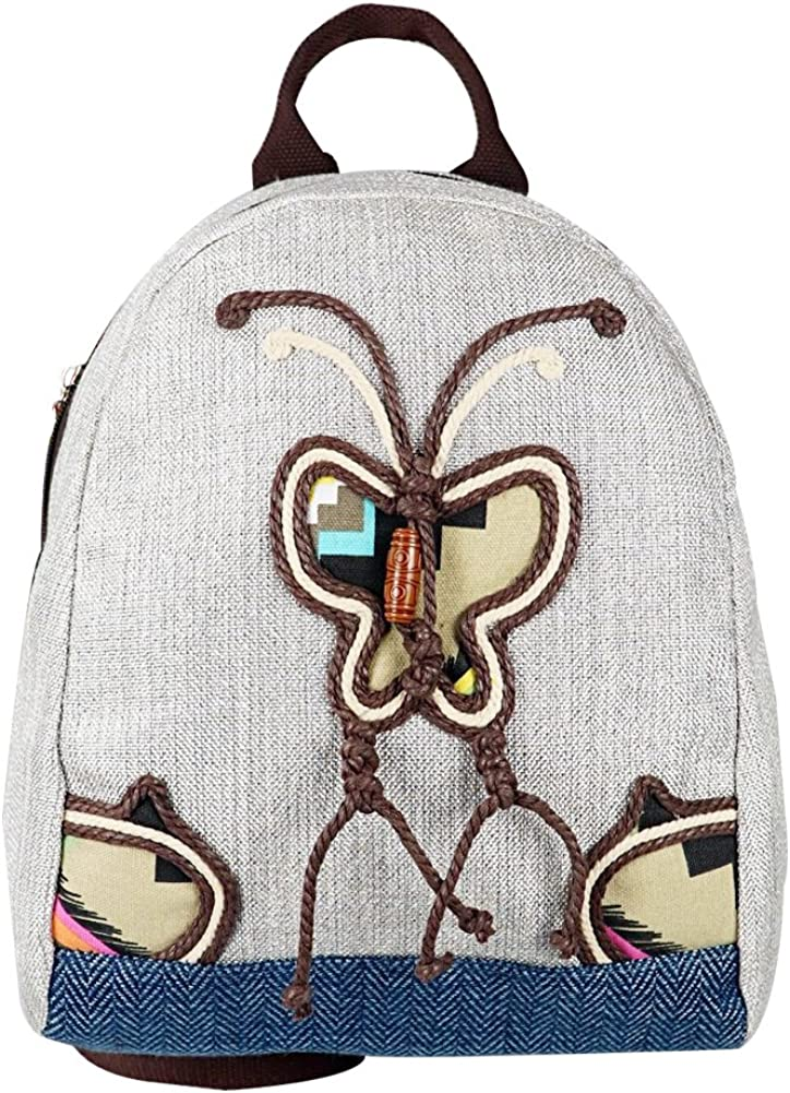 Teenagers Canvas Backpack Hand-knitted butterfly Bag for Hiking Travel Sports