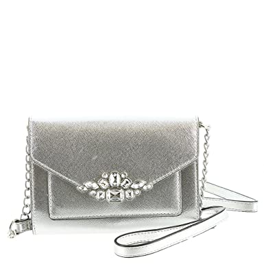 Amazon.com  Nine West Aleksei w Jewels Crossbody Bag Silver  Clothing 69d8f112f159a