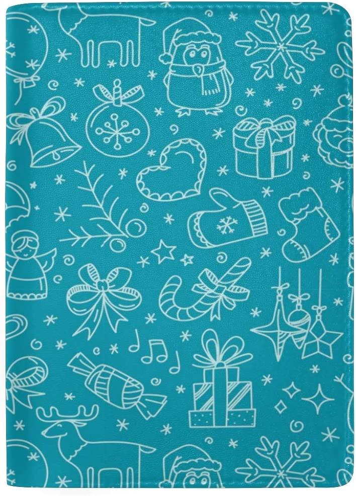 Blue Christmas Decoration Leather Passport Holder Cover Case Blocking Travel Wallet