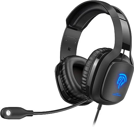 REDSTORM Auriculares para PC/Xbox One/Nintendo Switch/Móvil/Mac,Cascos Gaming Premium Estéreo con Micrófono Flexible, Luces LED y Orejeras de Memoria Suave, Gaming Headset de Volumen: Amazon.es: Informática