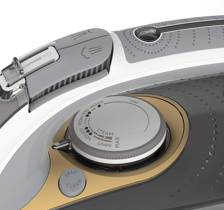 Breville VIN406 PressXpress 2600W Steam Iron with Advanced Ceramic Soleplate White /& Satin Gold