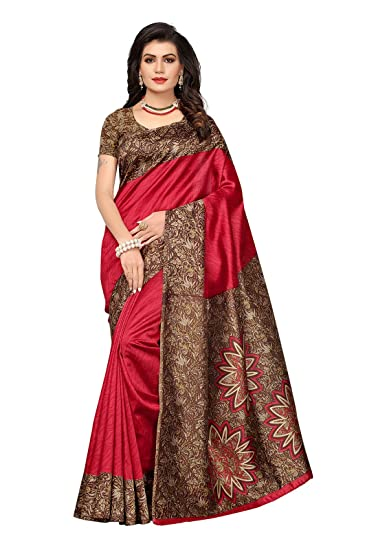 330fa434f17 Ishin Poly Silk Red Printed Women s Saree  Amazon.in  Clothing   Accessories