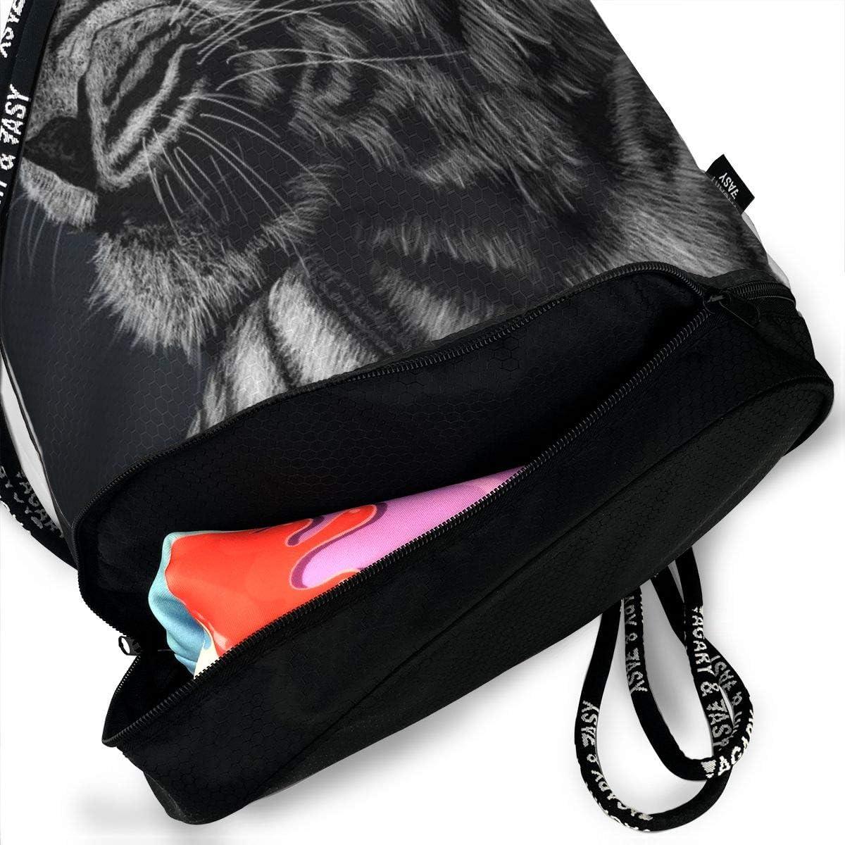 GymSack Drawstring Bag Sackpack Tiger Sport Cinch Pack Simple Bundle Pocke Backpack For Men Women