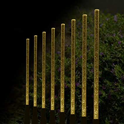 Aissimio 8pcs Solar Power Tube Lights Acrylic Bubble Stick Light LED  Outdoor Lawn Garden Parks Path