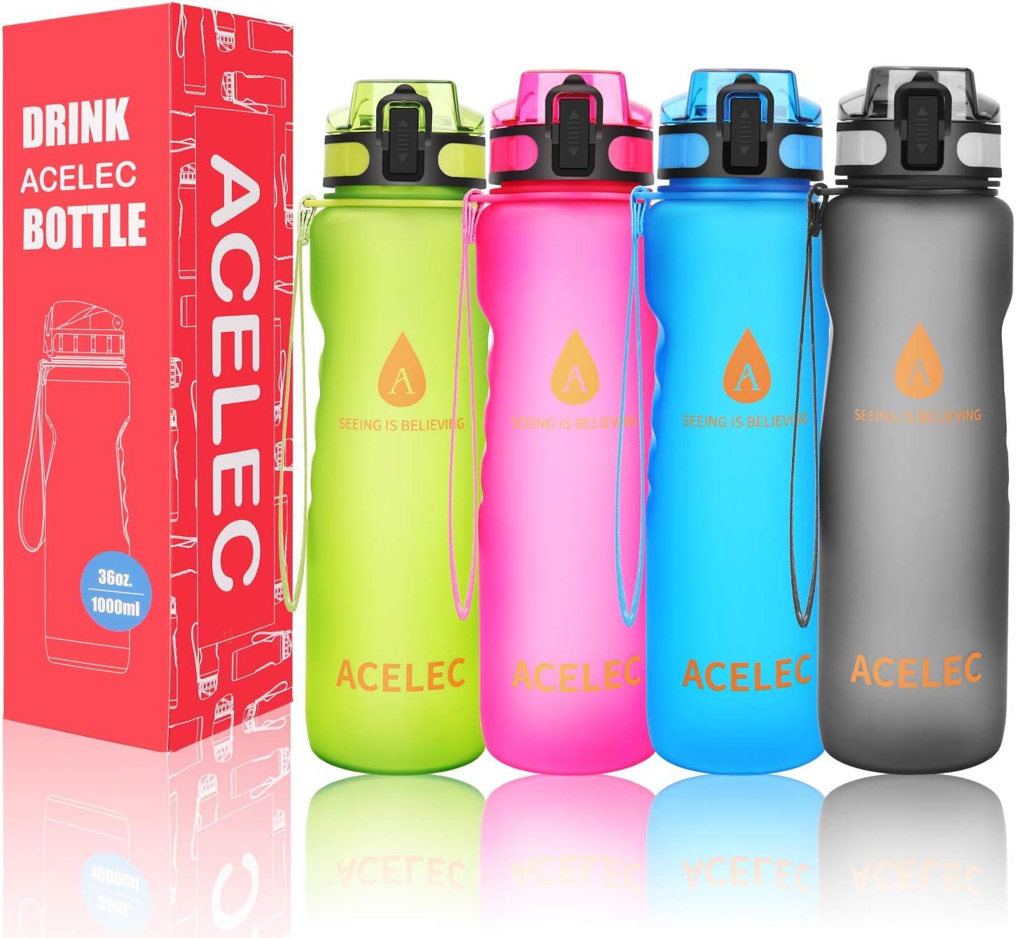 Auslaufsicher und Leichte Trinkflasche Outdoor und Kinder f/ür Arbeit Motivierende Zeitmarke Fitness Unterwegs Kohlens/äure geeignet Sport BPA-freie Tritan Flasche Aquachic Wasserflasche 1L