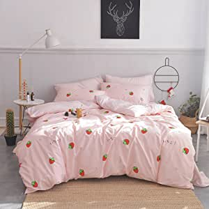 Enjoylife 100% Coton Bedding Bedroom 3 pcs Sets with 2 Envelope Pillowcase, Soft Duvet Cover for Kids/Teens/Adults Hidden Zipper Quilt Cover Printed Strawberry Full/Queen