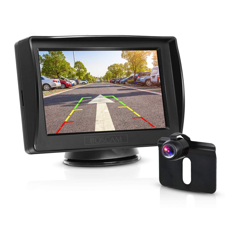 BOSCAM K3 - Kit de cá mara de Seguridad y Monitor para Coches de 4,3 Pulgadas TFT, LCD de visió n Trasera con cá mara de Marcha atrá s de visió n Nocturna, Resistente al Agua RVS-K3