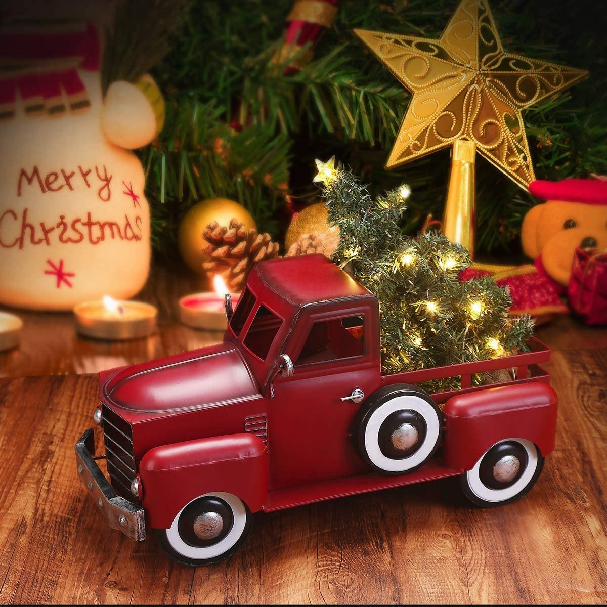 MH Christmas Truck with Tree Ornament Set, 3AA Battery Operated 30 pcs Warm White LEDs Metal Pickup Truck Car for Christmas Decorations Table Top Decor, Large