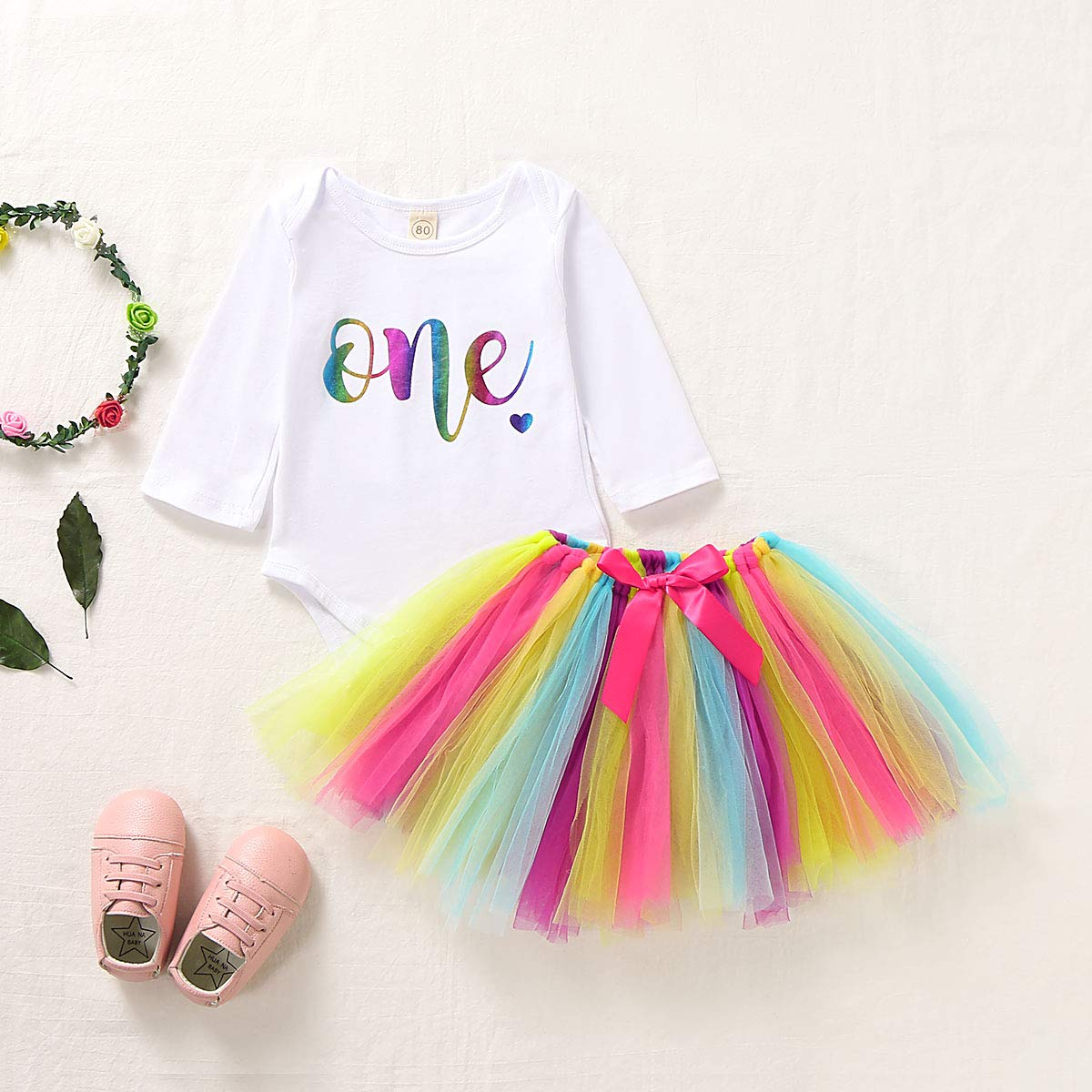 Baby Girls 1st Birthday Tutu Dress Long Sleeve One Romper Top Lace Skirt Clothes Outfit