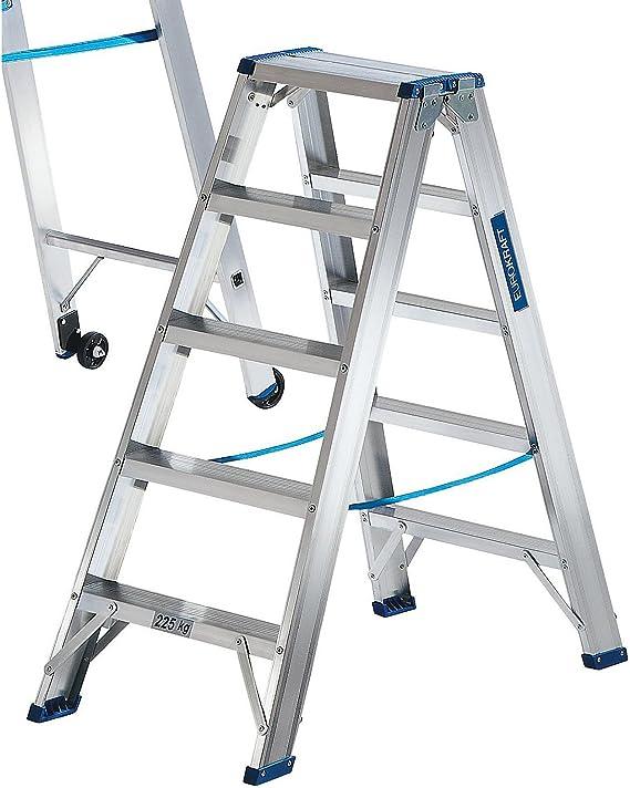 eurokraft – Escalera de acceso de los 2 lados – Bisagra energía de pesadas cargas, Marchas profilées – 2 x 5 peldaños, – escalera escabeaux escalera escalera de aluminio escalera plegable escaleras