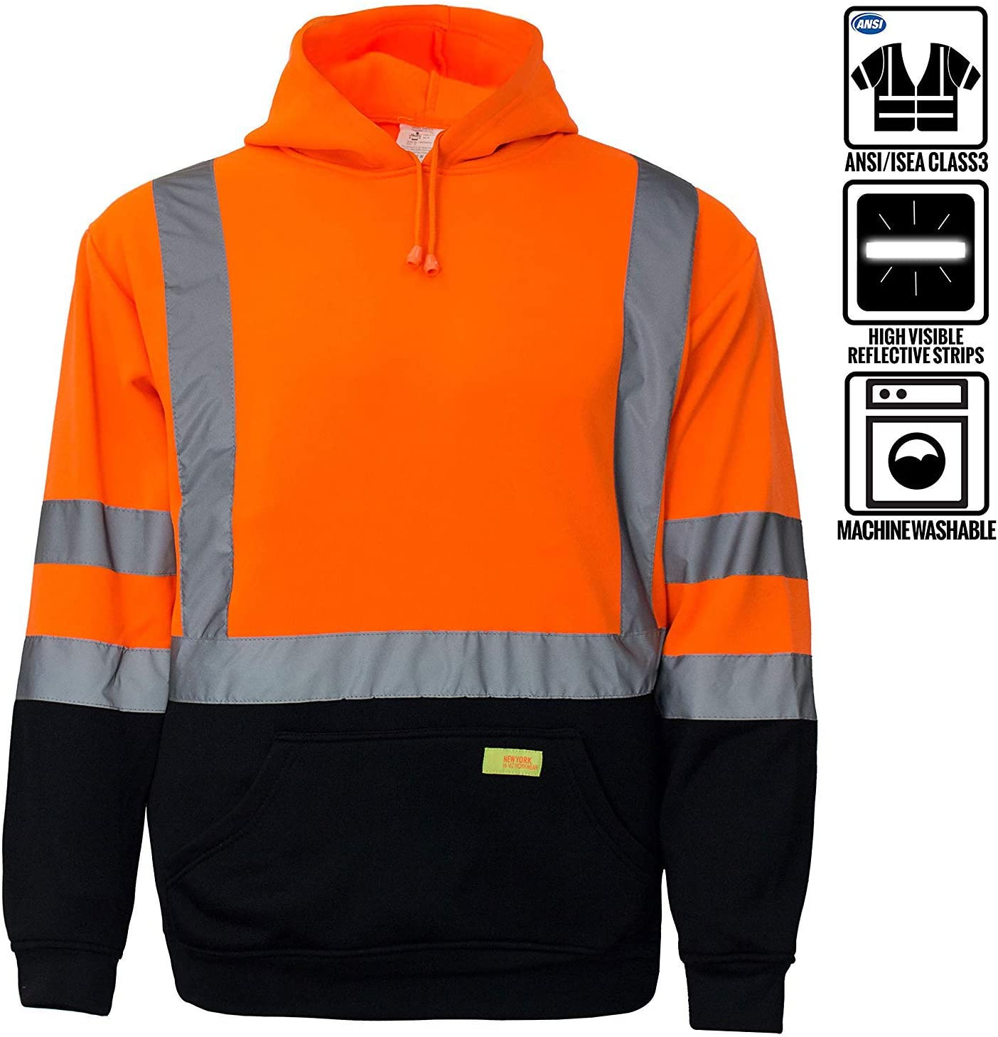 New York Hi-Viz Workwear H8312 Mens ANSI Class 3 High Size 5.0 Lime