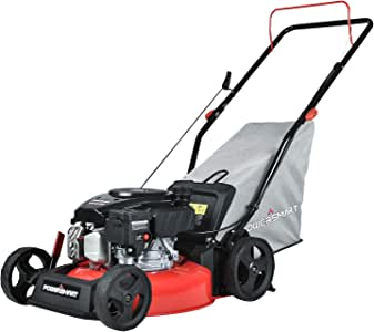 PowerSmart Lawn Mower, 17-inch & 127CC, Homeuse Gas Powered Push Lawn Mower with 4-Stroke Engine, 3-in-1 Gas Mower in Color Red/Black, 5 Adjustable Heights (1.18''-3.0''), DB8617P