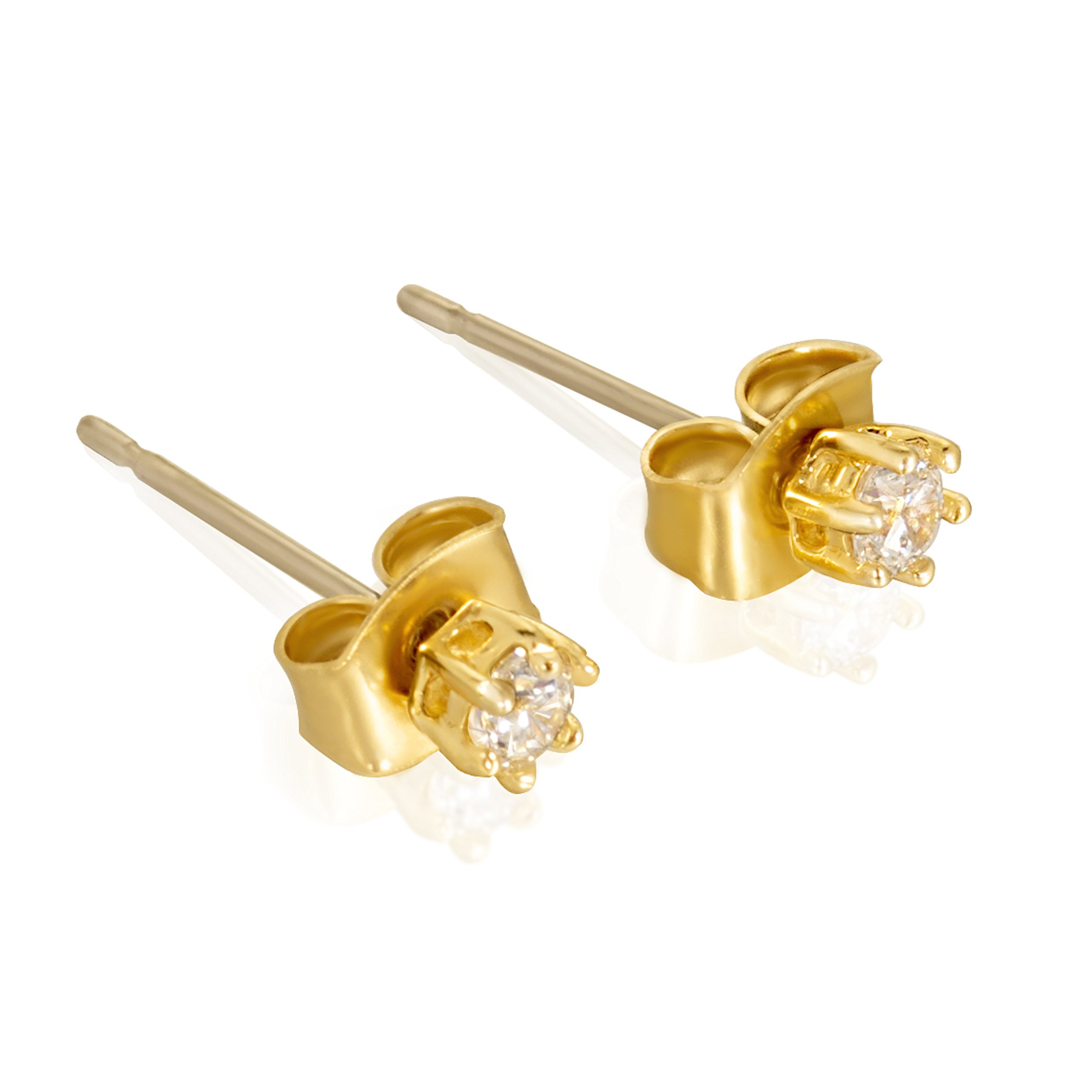 Lifetime Jewelry Cubic Zirconia Stud Earrings 24K Gold Plated with Surgical Steel Posts - Hypoallergenic 3mm CZ Studs - Safe for Sensitive Ears