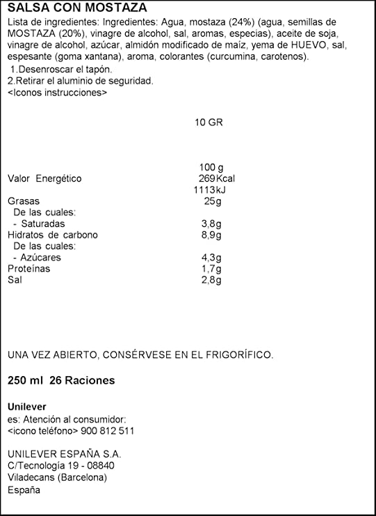HellmannS Mostaza Bocabajo - 6 Paquetes de 250 ml - Total: 1500 ml: Amazon.es: Alimentación y bebidas
