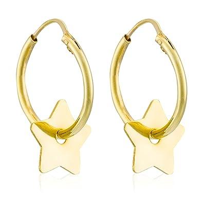 Córdoba Jewels | Pendientes en plata de ley 925 bañada en oro. Diseño Aro Estrella Oro: Amazon.es: Joyería