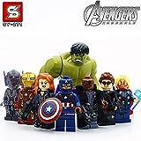 8pcs/Set Super Heroes Marvel Assemble Avengers DC Hulk Captain America Minifigures Building Blocks Sets Bricks Mini Figures Toys