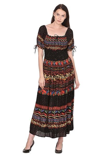 be0fde8b74c Saadgi Women's Viscose Rayon Rajasthani Printed Stretchable Smoky Elastic  Long Maxi Dress (Multicolour, X