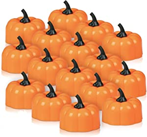 Thanksgiving Pumpkin Tea Lights, 16 Pack Thanksgiving Centerpieces for Tables, Led Flickering Orange Pumpkin Tealights, Flameless Candles for Thanksgiving Decoration, Party, Christmas Xmas Lights