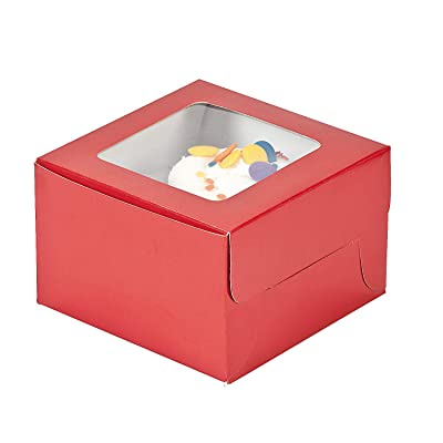 Fun Express - Red Cupcake Boxes - Party Supplies - Containers & Boxes - Paper Boxes - 12 Pieces: Christmas Cupcake Boxes: Kitchen & Dining