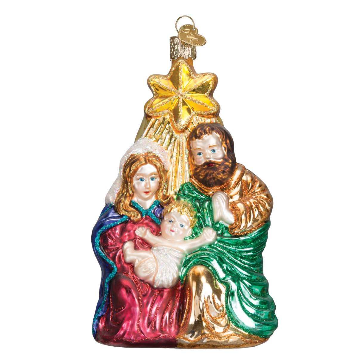 Old World Christmas Ornaments: Holy Family With Star Glass Blown Ornaments for Christmas Tree
