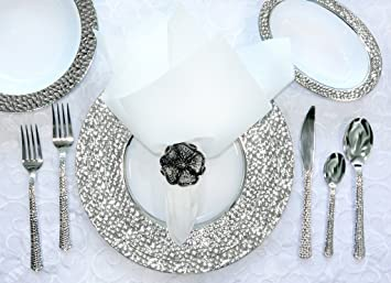 Royalty Settings Hammered Collection Plastic Plates Disposable Wedding Dinnerware Set of 40 Elegant Hammered  sc 1 st  Amazon.com : wedding plates and silverware disposable - pezcame.com