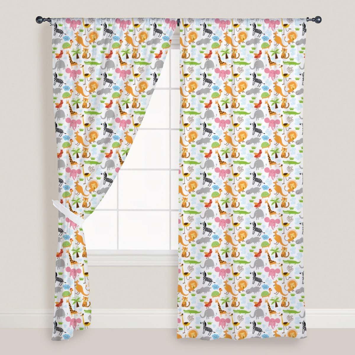 AZ Cute Animals Door & Window Curtain Satin 4feet x 8feet; SET OF 2 PCS
