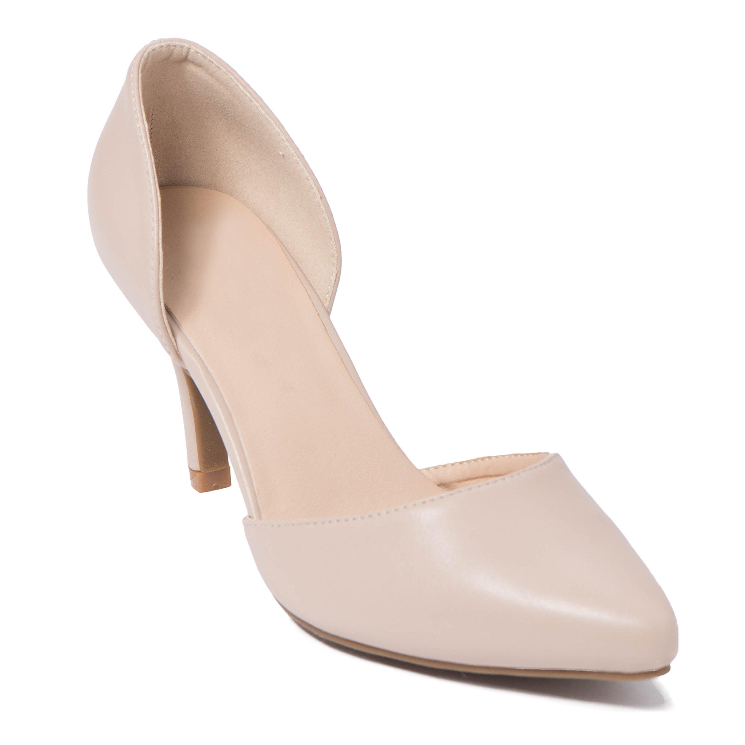 ShoBeautiful Women's D'Orsay Pump Slip on Low Stiletto Heel Party Dress Shoes Summer Sandals TK09 Natural 7.5