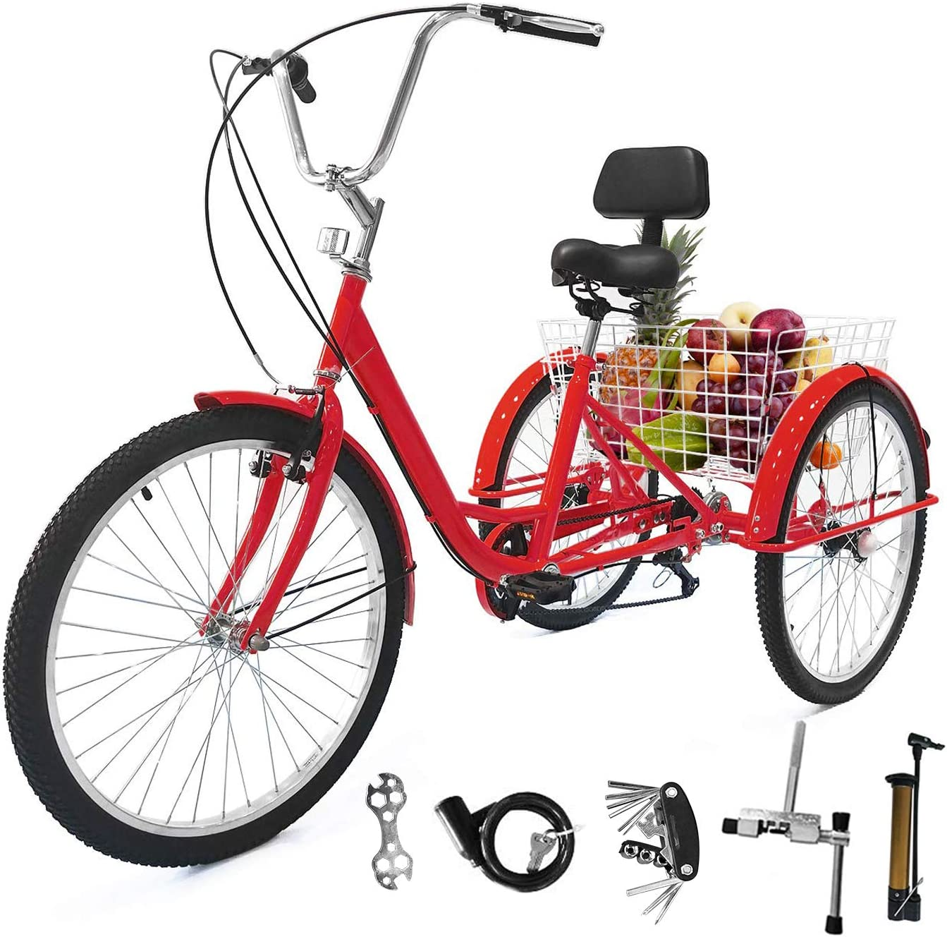 7Speed,24 inch Cool Red EOSAGA 7 Speed Adult Tricycle 24//26 in Trike Cruise Bike 3 Wheeled Bicycle for Women Men Shopping Recreation w//Large Basket,Multi-Function Screwdriver,Wrench,Lock,Pump