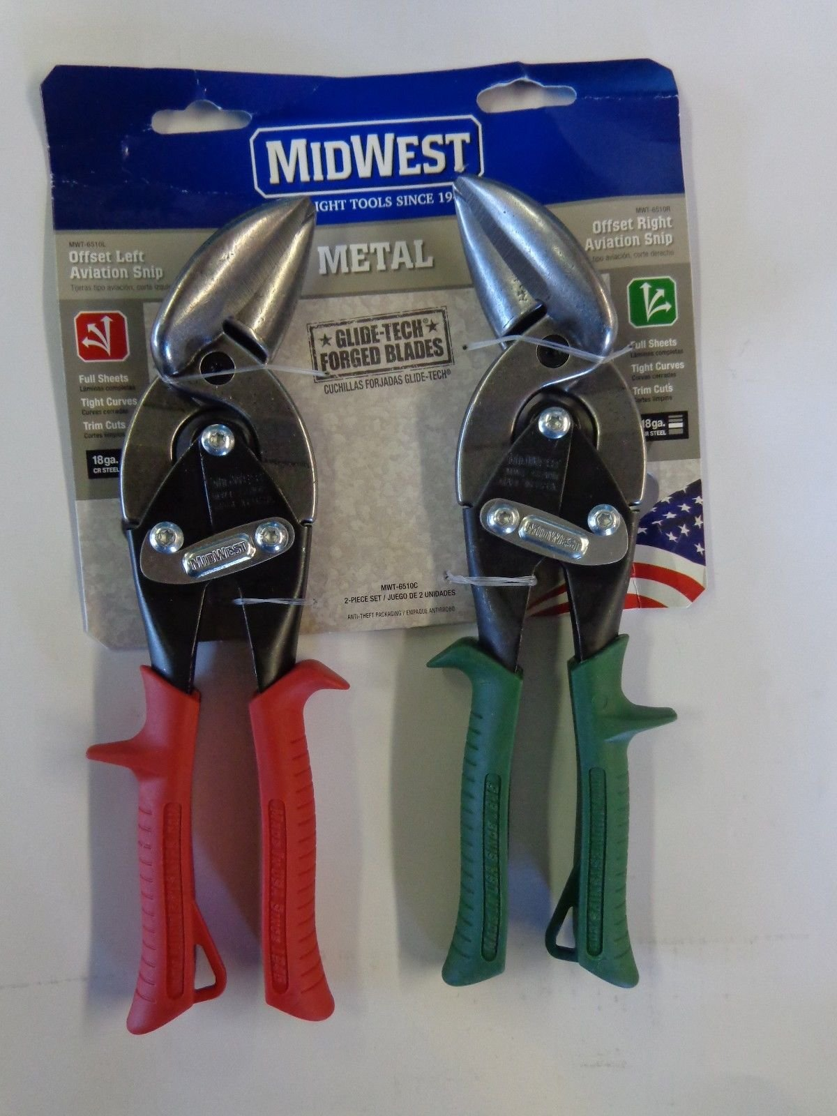 Midwest Tool and Cutlery MWT-6510C Midwest Snips Forged Blade 2-Piece Offset Aviation Snips Set 10 Pack Set (10) USA MADE!
