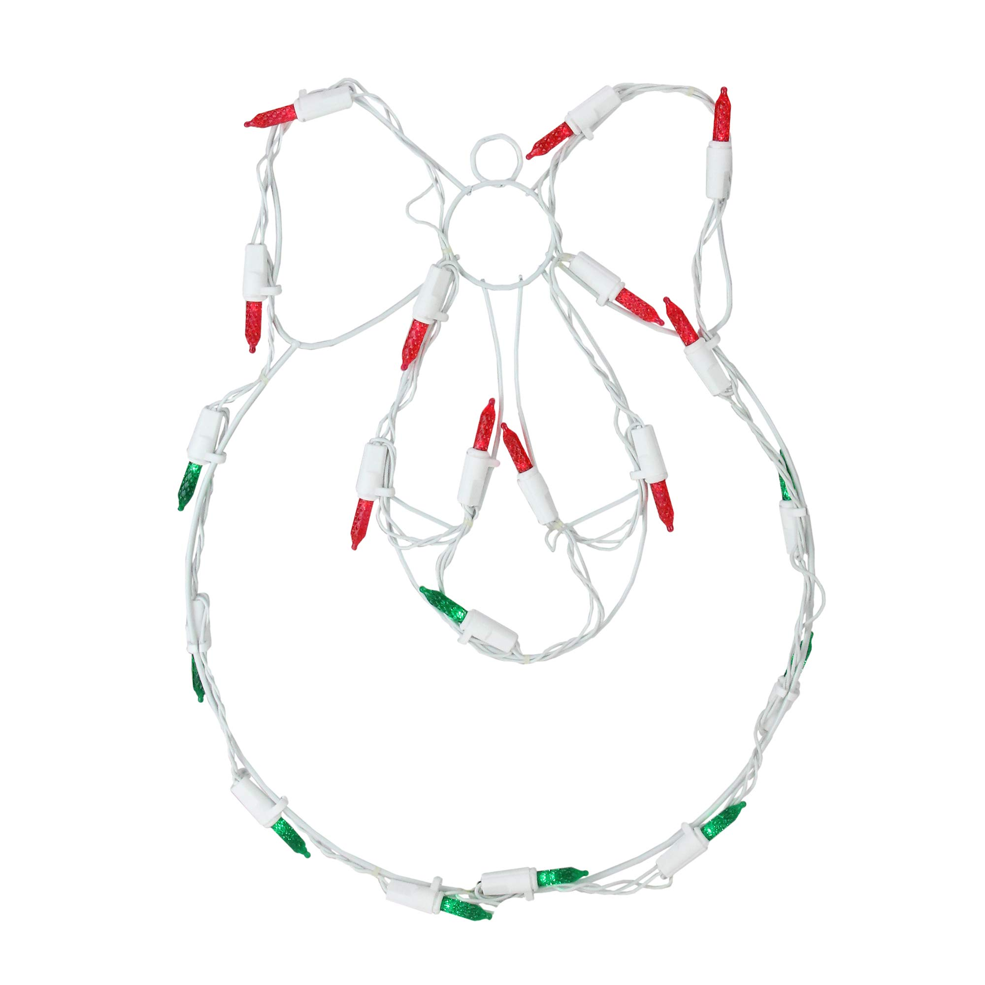 Sienna Battery Operated LED Lighted Wreath and Bow Christmas Window Silhouette, 12''