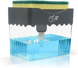 JE Make IT Simple Dish Soap Dispenser for Kitchen, 2-in-1 Dish Soap Pump Dispenser + Sponge Holder Sink - Dishwashing Soap Dispenser
