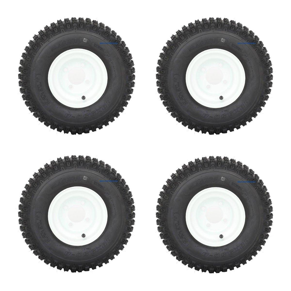 Slasher Knobby 18x9.50-8'' Golf Cart Tires / ATV Tires and 8'' White Steel Golf Cart Wheel Combo - Set of 4