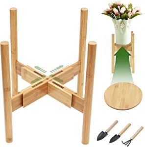 Panta Adjustable Plant Stand with Tray, Mid Century Flower Plant Stand, Fits for 8-12 Inch Small Planter Pots (Natural Bamboo Wood)