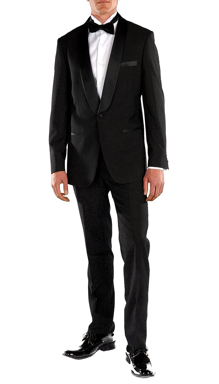 Ferrecci メンズ プレミアム 2ピース & 3ピース 超快適スリムフィット タキシード B06XRH6V37 42 Regular / 36 Waist Falls Black 2pc Shawl Tuxedo Falls Black 2pc Shawl Tuxedo 42 Regular / 36 Waist