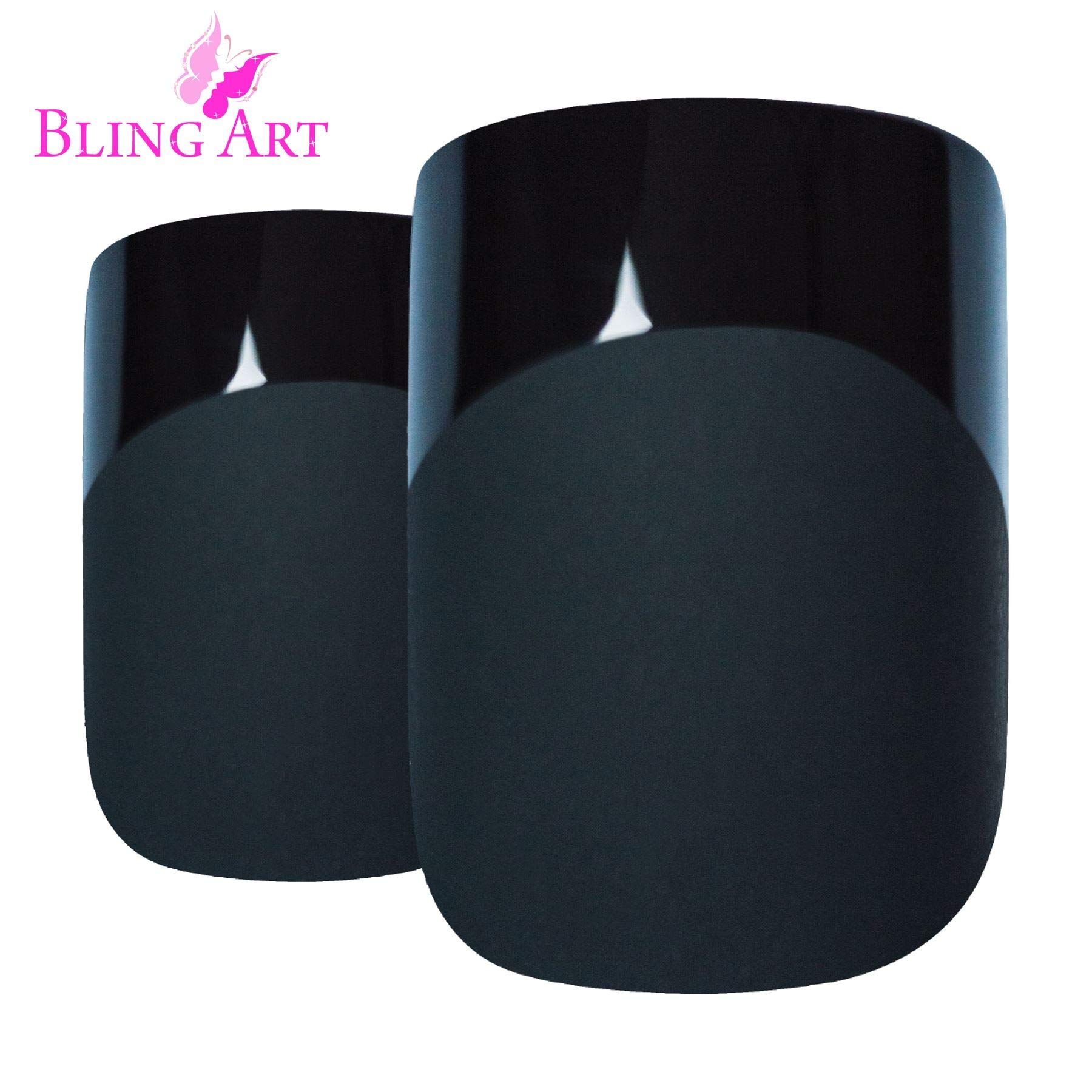 Bling Art False Nails French Fake Matte Black Squoval 24 Medium Tips Glue